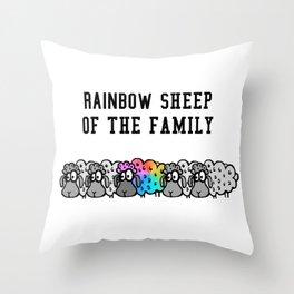 rainbow sheep of the family Throw Pillow