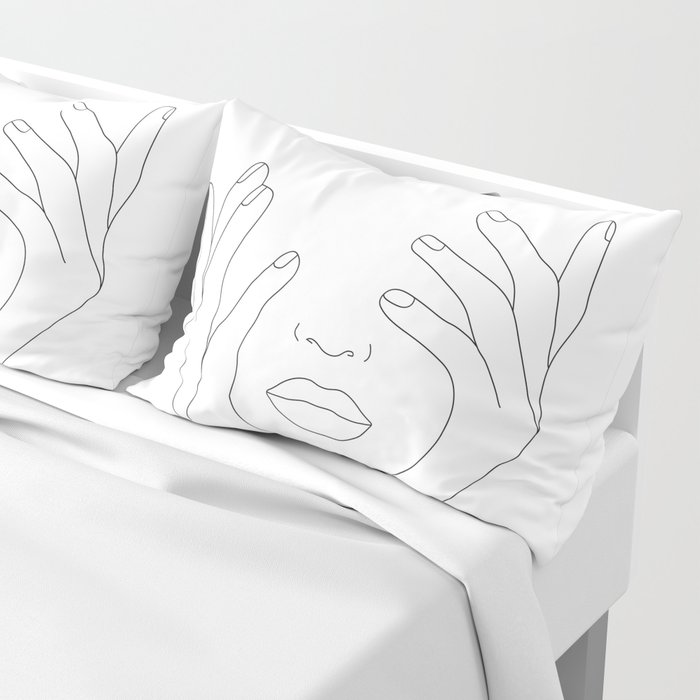 Minimal Line Art Woman with Hands on Face Pillow Sham