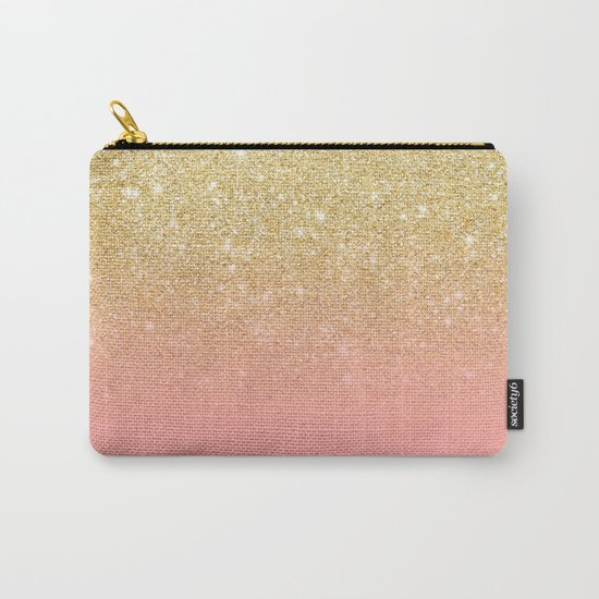 Modern gold ombre pink color block Carry-All Pouch