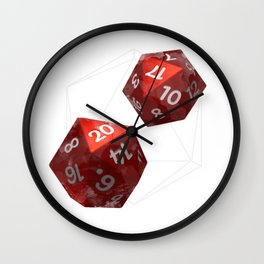 D20 Roleplaying Die Icosahedron Watercolor Red Wall Clock