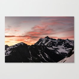 Pink Sky - Cascade Mountains - Nature Photography Canvas Print