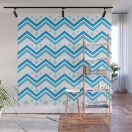 Blue wave geometric background. Ethnic style #society6 #decor #buyart #artprint Wall Mural