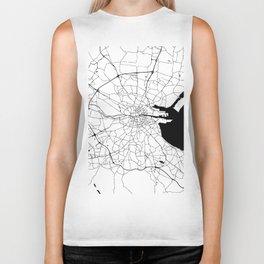 White on Black Dublin Street Map Biker Tank