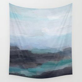 Mint Navy Blue Green Abstract Wall Art, Painting Art, Ocean Painting Print, Blue Water Wall Tapestry