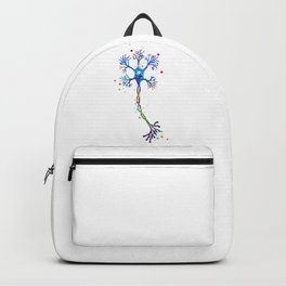 Motor Neuron Art Brain Cell Anatomy Art Colorful Blue Purple Watercolor Medical Science Art Backpack