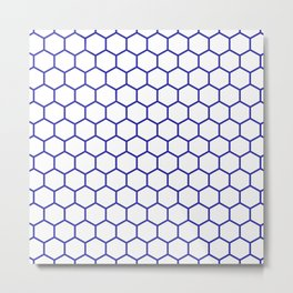 Honeycomb (Navy Blue & White Pattern) Metal Print