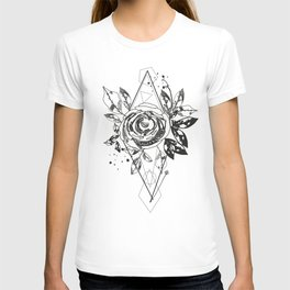 Abstract rose silhouette. Triangle geometric shapes and rose. Summer time abstract black flowers T-shirt