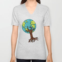 SPACE EARTH TREE Unisex V-Neck