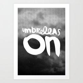 Umbrellas on Art Print