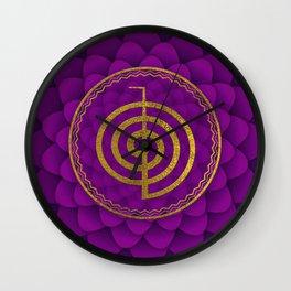 Gold Choku Rei Symbol on lotus Wall Clock
