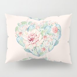 Three Hearts Cactus Rose Pillow Sham