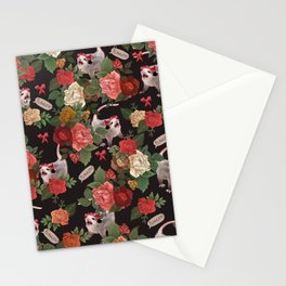 Opossum Floral Pattern (with text) Stationery Cards