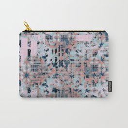 Pink and Blue Modern Geometric and Animal Print Pattern Carry-All Pouch