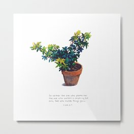 Potted Plant - God Makes Things Grow (1 Corinthians 3:7) Metal Print