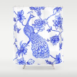 Chinoiserie Peacock Shower Curtain