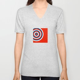 Retro Circles Pop Art - Red White & Blue Unisex V-Neck