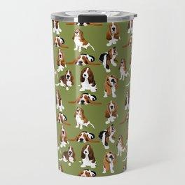 Basset Hounds on Green Travel Mug