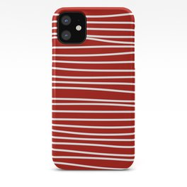 Red & White Maritime Hand Drawn Stripes - Mix & Match with Simplicity of Life iPhone Case
