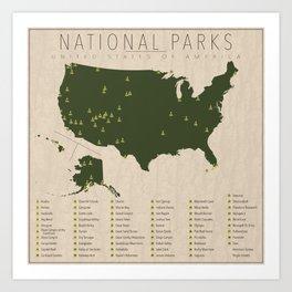 US National Parks Art Print