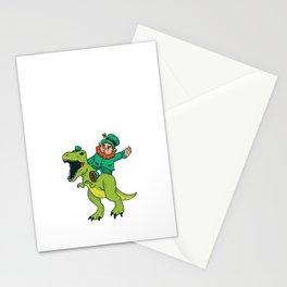 St Patricks Day Leprechaun Trex Dinosaur Kids Boys Stationery Cards