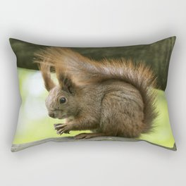 Red squirrel eating nuts Rectangular Pillow