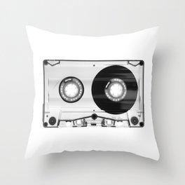 1980's Retro Black-White Vintage 80's Cassette Eighties Technology Art Print Home Decor Wall Decor Throw Pillow