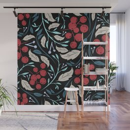 Holiday Holly and Mistletoe Pattern Wall Mural