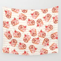 dessert Wall Tapestries featuring Strawberry Dessert Rolls by ilicisoak