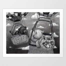 Untitled - charcoal drawing - cat, dog, pet, animals, cute, furry, dog chase cat, silly, funny Art Print