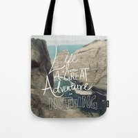 adventure Tote Bags featuring Great Adventure by Leah Flores