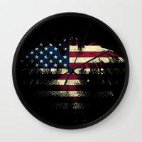 american flag Wall Clocks featuring AMERICAN FLAG by Oksana Smith