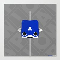 steve rogers Canvas Prints featuring Marshmallow Steve Rogers by Oblivion Creative