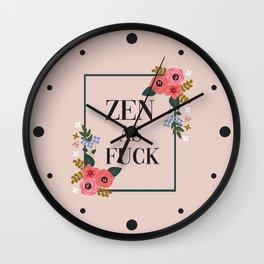 Zen As Fuck, Funny Pretty Yoga Quote Wall Clock