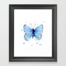 Blue Butterfly Watercolor Butterflies Animals Framed Art Print