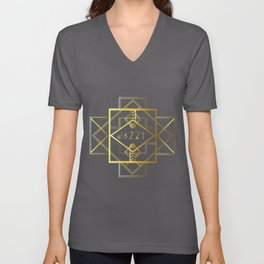 Jazzy Letterform and Pattern Unisex V-Neck