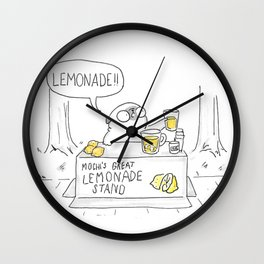 Mochi the pug's great lemonade stand Wall Clock