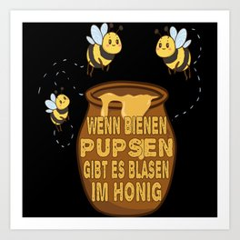 bee bumblebee honey pot children design Art Print