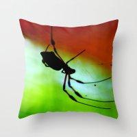 spider Throw Pillows featuring spider by lennyfdzz