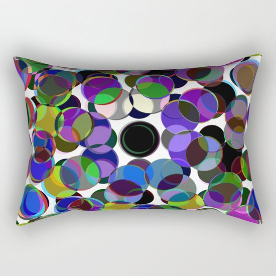 Cluttered Circles III - Abstract, Geometric, Pastel Coloured, Circle Patterned Artwork Rectangular Pillow