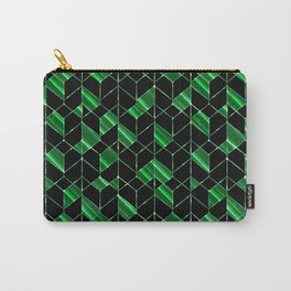Black, green geometric pattern. Carry-All Pouch