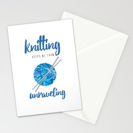 Funny Knitting Keeps Me From Unraveling Crafter's Stationery Cards