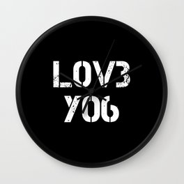Love you typography black pattern Wall Clock