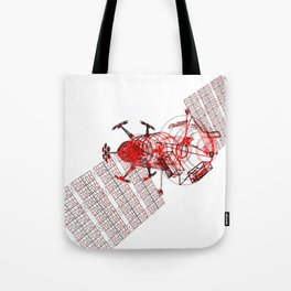 Explorer Schematic Red on White Tote Bag