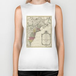 Colonial America Map by Matthaus Lotter (1776) Biker Tank