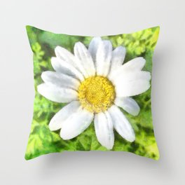 Radiant Daisy Watercolor Throw Pillow