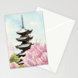 Japanese Temple Watercolor Painting print by Suisai Genki , To-ji, Kyoto , Sakura , Cherry blossom Stationery Cards