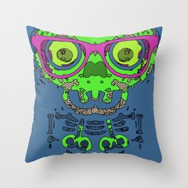 green funny skull art portrait with pink glasses and blue background Throw Pillow