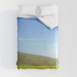 yellow flower field Comforters