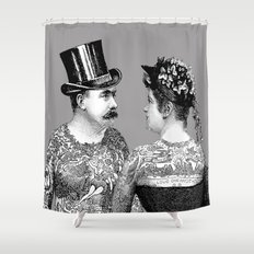 Tattooed Victorian Lovers Shower Curtain