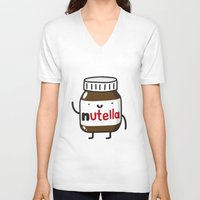 nutella V-neck T-shirts featuring HAPPY NUTELLA IS HAPPY by Agustin Flowalistik